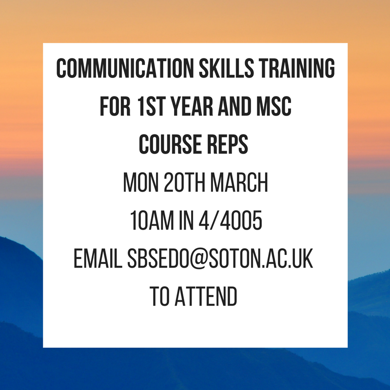 Communication Skills TrainingFor 1st year and MSc Course Reps